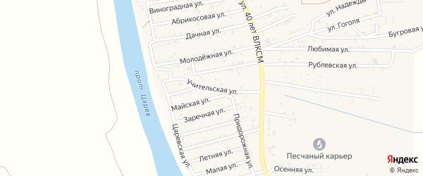 Учительская улица на карте поселка Кирпичного Завода N1 с номерами домов