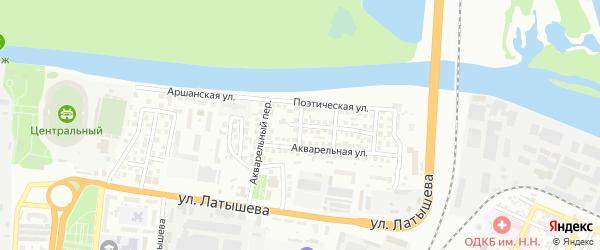Акварельный 2-й переулок на карте Астрахани с номерами домов