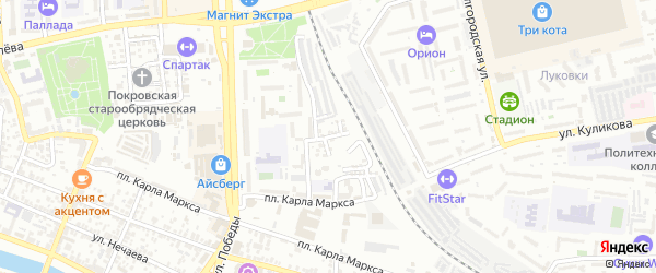 Рязанская улица на карте Астрахани с номерами домов