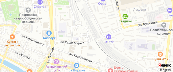 Самотечная улица на карте Астрахани с номерами домов