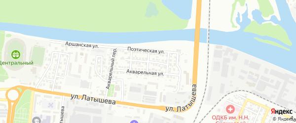 Акварельный 3-й переулок на карте Астрахани с номерами домов