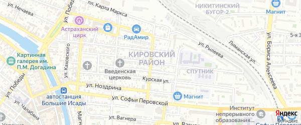 Никитинский переулок на карте Астрахани с номерами домов