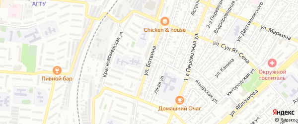Улица Ботвина на карте Астрахани с номерами домов