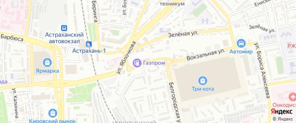 Минусинская улица на карте Астрахани с номерами домов