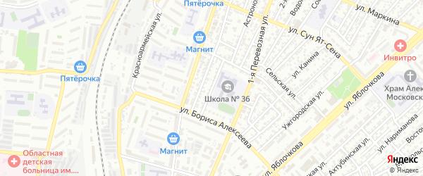 Узкая улица на карте Астрахани с номерами домов