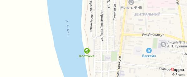 Красная Набережная улица на карте Камызяка с номерами домов