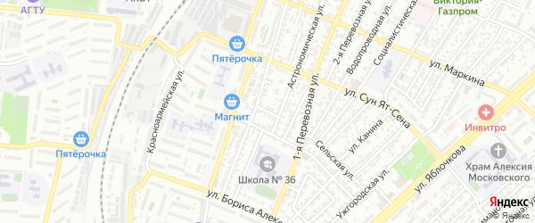 Артельный 1-й переулок на карте Астрахани с номерами домов
