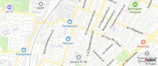 Артельный переулок на карте Астрахани с номерами домов