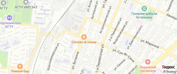 Артельная улица на карте Астрахани с номерами домов