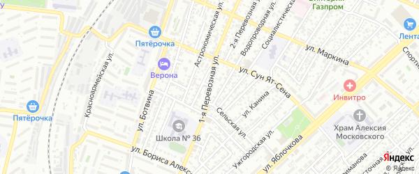 Перевозная 1-я улица на карте Астрахани с номерами домов