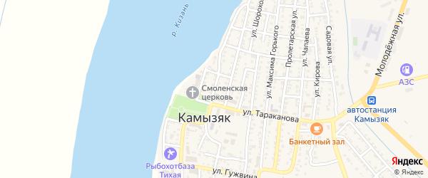 Улица Чугунова на карте Камызяка с номерами домов