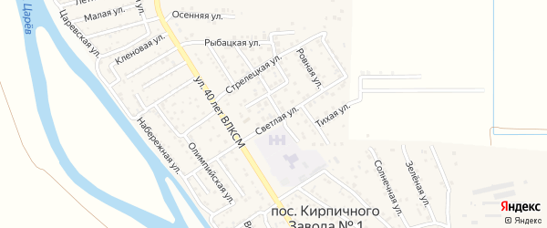 Светлая улица на карте поселка Кирпичного Завода N1 с номерами домов