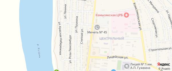 Улица Елдышева на карте Камызяка с номерами домов