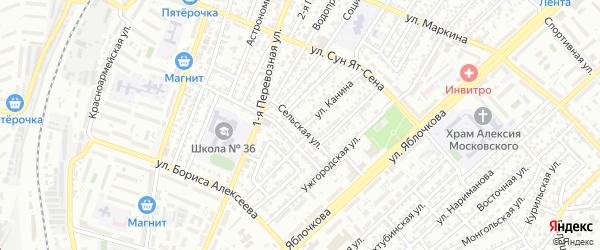 Сельская улица на карте Астрахани с номерами домов