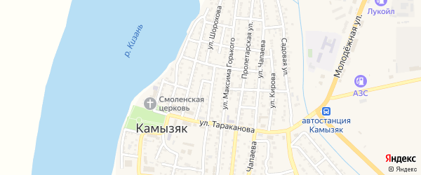 Улица Шорохова на карте Камызяка с номерами домов