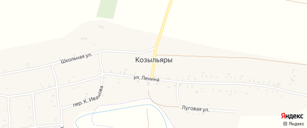 Луговая улица на карте деревни Козыльяры с номерами домов