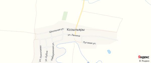 Карта деревни Козыльяры в Чувашии с улицами и номерами домов