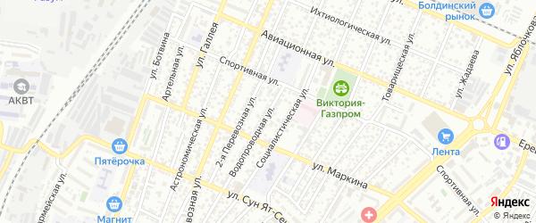 Водопроводная улица на карте Астрахани с номерами домов