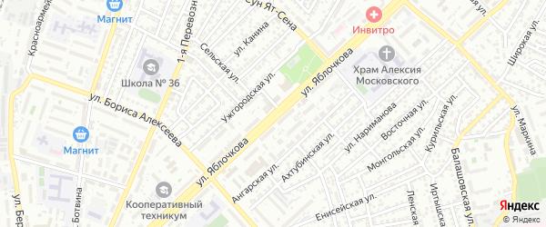 Улица Яблочкова на карте Астрахани с номерами домов