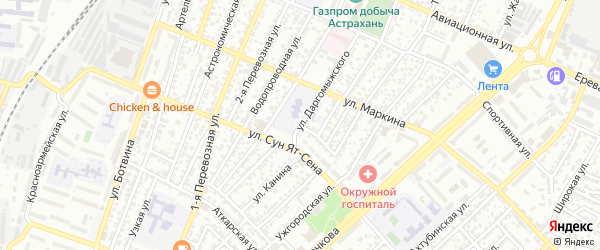 Улица Даргомыжского на карте Астрахани с номерами домов