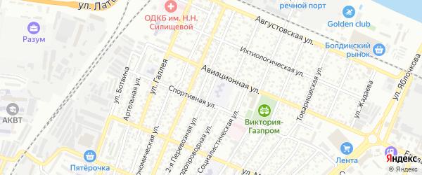 Спортивная площадь на карте Астрахани с номерами домов