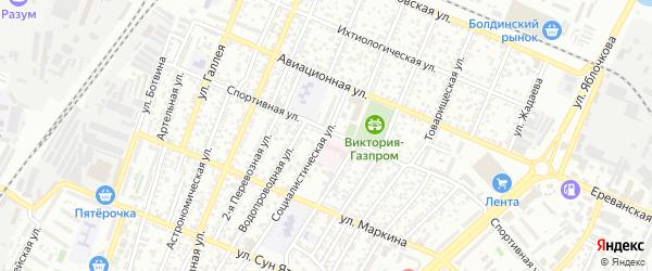 Социалистическая улица на карте Астрахани с номерами домов