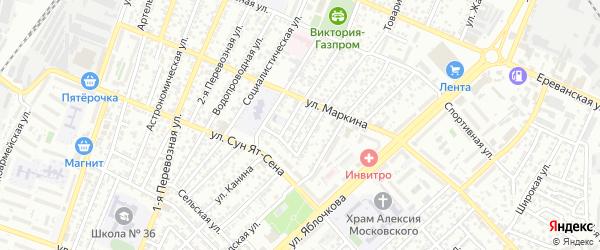 Короткая улица на карте Астрахани с номерами домов