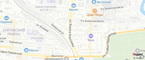 Зеленгинская улица на карте Астрахани с номерами домов