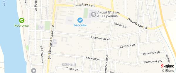Поперечная улица на карте Камызяка с номерами домов
