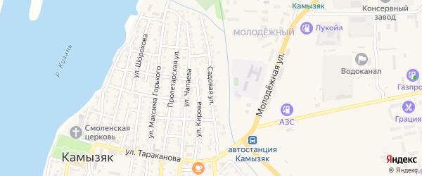 Садовая улица на карте Камызяка с номерами домов