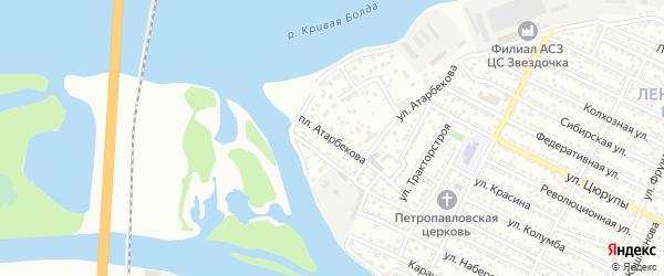 Площадь Атарбекова на карте Астрахани с номерами домов