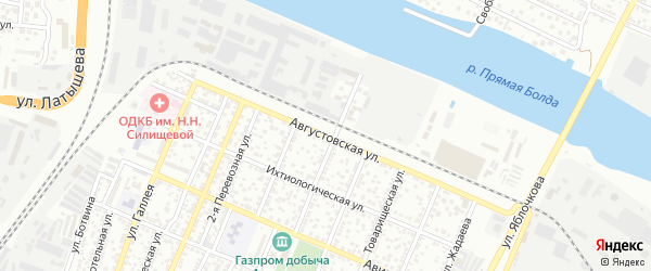 Августовская улица на карте Астрахани с номерами домов