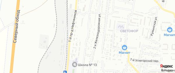 Железнодорожная 1-я улица на карте Астрахани с номерами домов