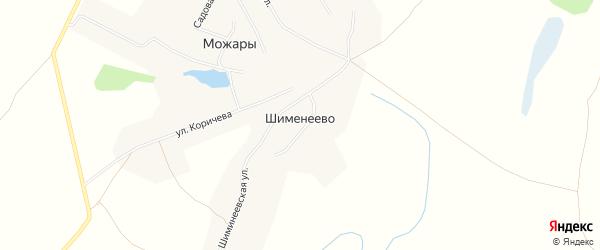Карта деревни Шименеево в Чувашии с улицами и номерами домов