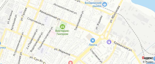 Переулок Колчина на карте Астрахани с номерами домов