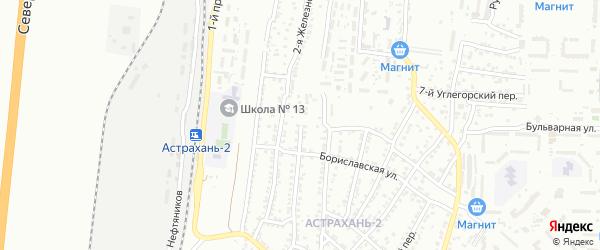 Железнодорожная 4-я улица на карте Астрахани с номерами домов