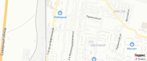 Железнодорожный 2-й переулок на карте Астрахани с номерами домов