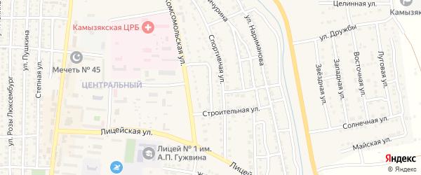 Улица Коммунаров на карте Камызяка с номерами домов