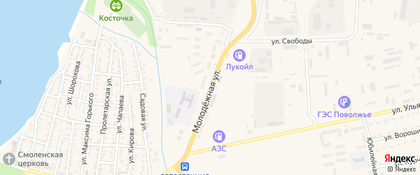 Молодежная улица на карте Камызяка с номерами домов