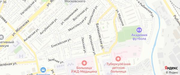 Иртышская улица на карте Астрахани с номерами домов