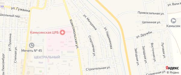 Спортивная улица на карте Камызяка с номерами домов