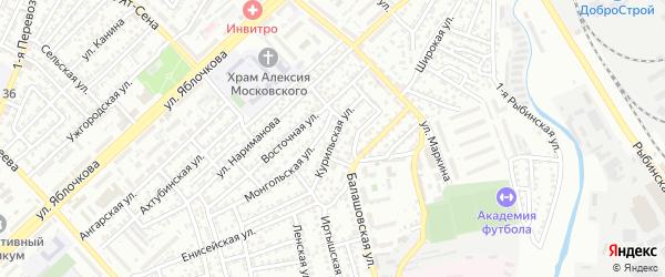 Курильская улица на карте Астрахани с номерами домов