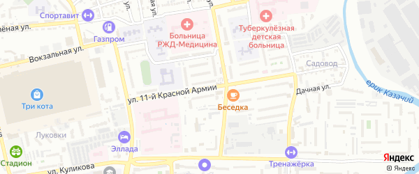 Улица 11 Красной Армии на карте Астрахани с номерами домов