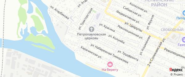 Улица Трудфронта на карте Астрахани с номерами домов