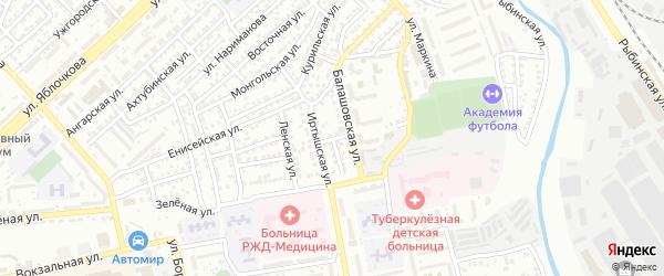 Зеленый переулок на карте Астрахани с номерами домов