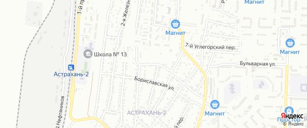Бориславская 1-я улица на карте Астрахани с номерами домов