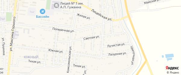 Светлая улица на карте Камызяка с номерами домов
