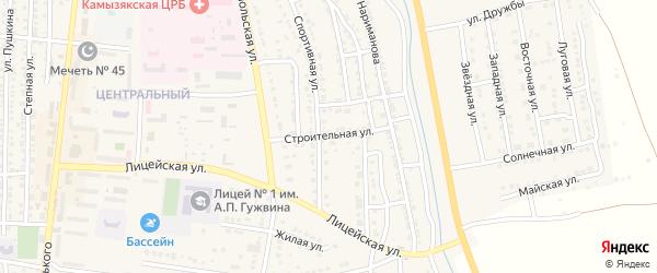 Строительная улица на карте Камызяка с номерами домов