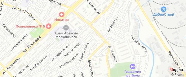 Верхоянский переулок на карте Астрахани с номерами домов