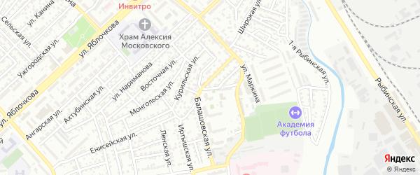 Линейный переулок на карте Астрахани с номерами домов